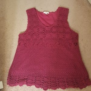 Charter Club Red crochet top
